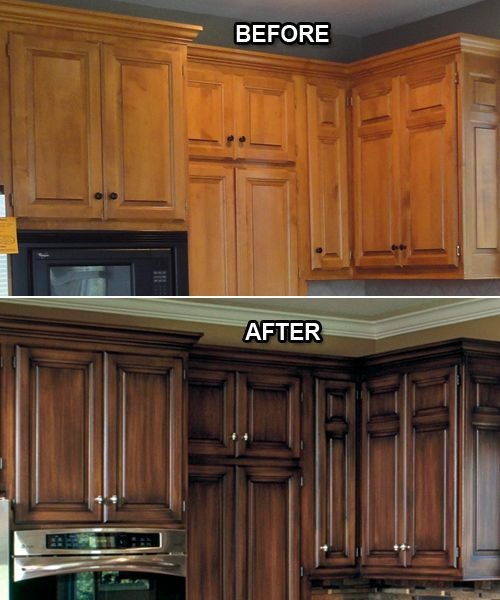 Example of the Before and After Effects of Replacing Kitchen Cabinets