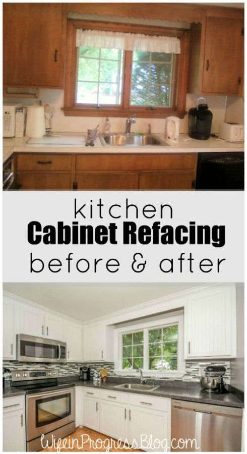 Displaying the Before & After effect of kitchen cabinet refacing